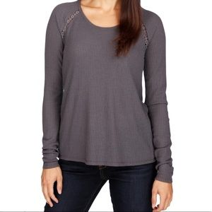 Lucky Brand Thermal Top Waffle Knit Lace Back